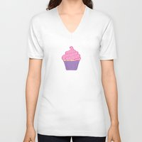 cupcakes V-neck T-shirts featuring Cupcakes by CassieLeigh