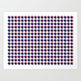 Red White Blue Houndstooth Art Print