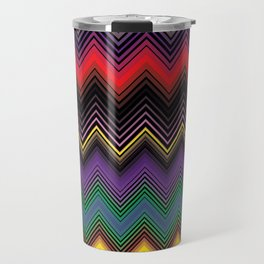 Zigzag Stripe Ethnic Face Travel Mug