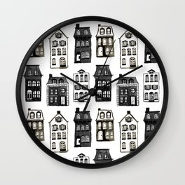 Mansard Mansions in Black + White Watercolor Wall Clock