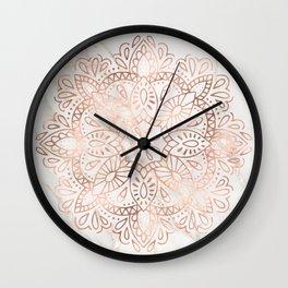 Rose Gold Mandala Marble Wall Clock
