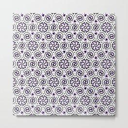 Purple, Black and White Geometric Swirl Pattern Metal Print