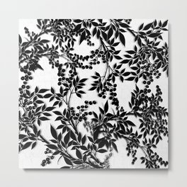 Toile Black and White Tangled Branches and Leaves Metal Print
