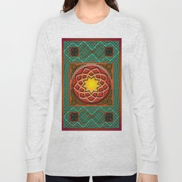 Celtic Knotwork panel in Persian Green Long Sleeve T-shirt