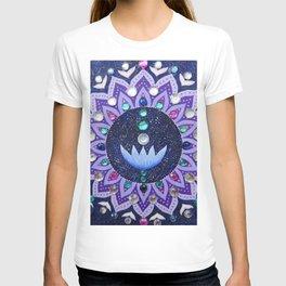 Lotus and Moon Phases Jewelled Mandala T-shirt