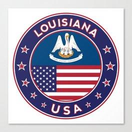 Louisiana, Louisiana t-shirt, Louisiana sticker, circle, Louisiana flag, white bg Canvas Print
