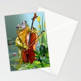 Realistic Print of Frog Playing Cello Stationery Cards