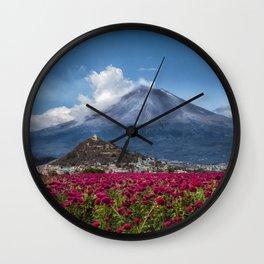 Popocatepetl Volcano Puebla Mexico Wall Clock