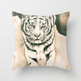 White Tiger Sepia Litograph Style Throw Pillow