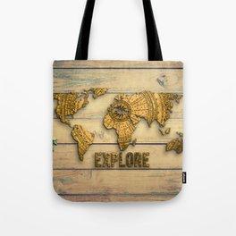 Explore Vintage World Map on Wood Tote Bag