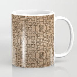 Chinese Pattern Double Happiness Symbol on Wood Coffee Mug