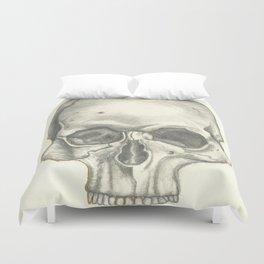 Vintage Skull - Black and White Drawing Duvet Cover
