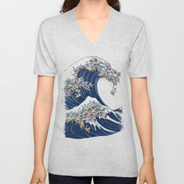 The Great Wave Of  Cat Unisex V-Neck