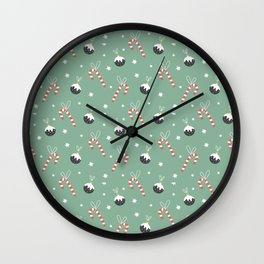 Christmas Candy Cane And Ornament Decor Wall Clock