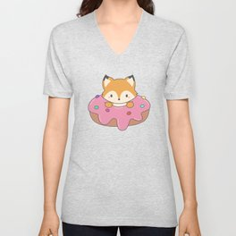 Kawaii fox and donut Unisex V-Neck