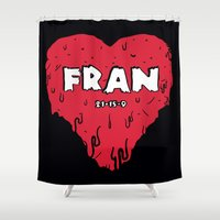 crossfit Shower Curtains featuring Love Fran by Daniel Thompson