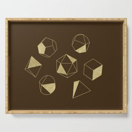 Dice Outline in Gold + Brown Serving Tray
