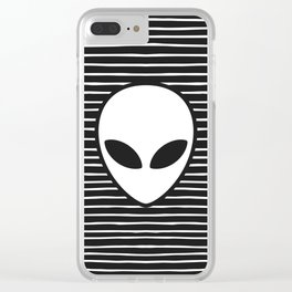 Alien on Black and White stripes Clear iPhone Case