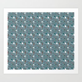 Blue Science and Math Icons Art Print
