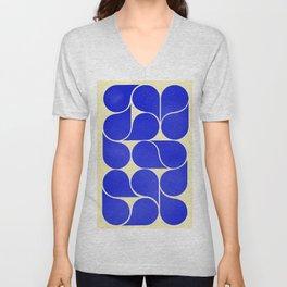 Blue mid-century shapes no8 Unisex V-Neck