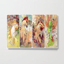 Alphonse Mucha (1860-1939) - THE SEASONS (series) [Spring Summer Autumn Winter] - Date: 1896 - Style: Art Nouveau (Modern) - Genre: Allegorical painting - Digitally Enhanced Version (1500dpi) - Metal Print