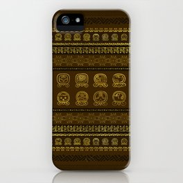 Maya Calendar Glyphs pattern Gold on Brown iPhone Case