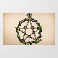 pentagram Area & Throw Rugs featuring PENTAGRAM GARLAND by Dianah B