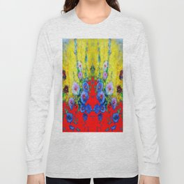 BLUE HOLLYHOCKS YELLOW & RED GARDEN MODERN ART Long Sleeve T-shirt