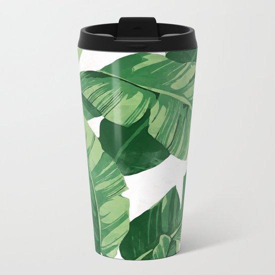 Tropical banana leaves IV Metal Travel Mug