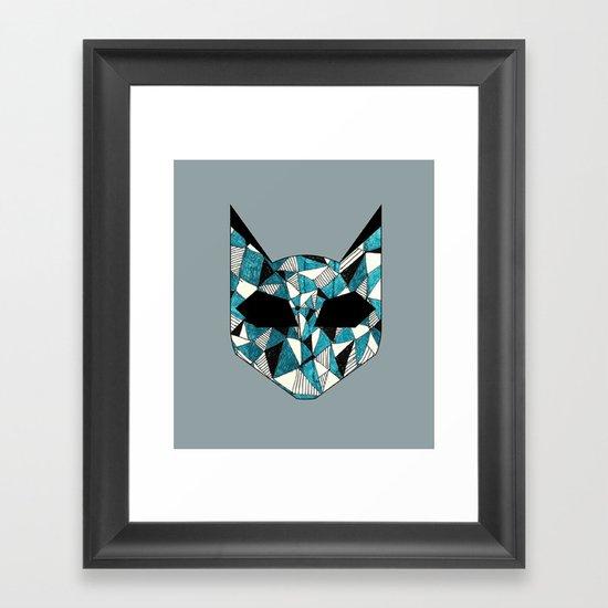 Turquoise Cat Framed Art Print