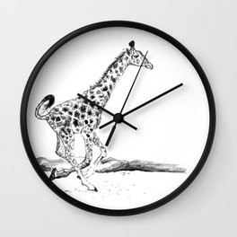 Baby Giraffe Running Wall Clock