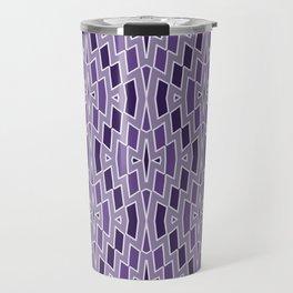 Fragmented Diamond Pattern in Violet Travel Mug