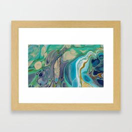 Fluid Abstract - Blue and Purple Framed Art Print