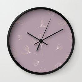 Abstract Gingko Biloba Botanical Rose Gold Line-Art Leaves Wall Clock