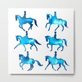 Turquoise Dressage Horse Silhouettes Metal Print
