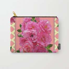 VINTAGE STYLE PINK ROSES PATTERN GREY ART Carry-All Pouch