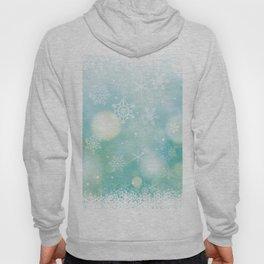 Blue Snowflakes Blur Lights Snowing Modern Winter Pattern Hoody