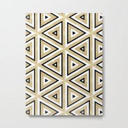 Gold Glitter and Black Geomeric Pattern Metal Print