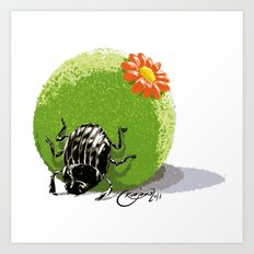 Dung Beetle Art Print