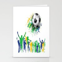 world cup Stationery Cards featuring World Cup Fever by Robin Curtiss
