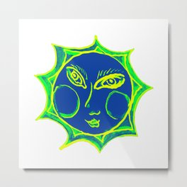 Smiling Green Sun with Blue Face Metal Print