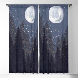 Full Moon Landscape Blackout Curtain