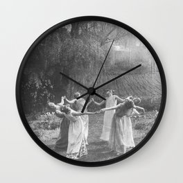 Circle Of Witches Vintage Women Dancing Black And White Wall Clock