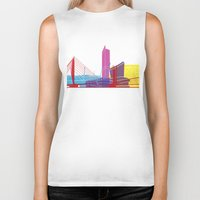 manchester Biker Tanks featuring Manchester skyline pop by Paulrommer