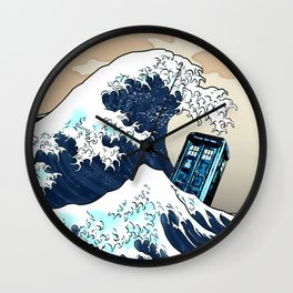 Blue phone Box Vs The great Big Wave iPhone 4 4s 5 5c 6, pillow case, mugs and tshirt Wall Clock
