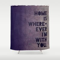 font Shower Curtains featuring With You by Leah Flores