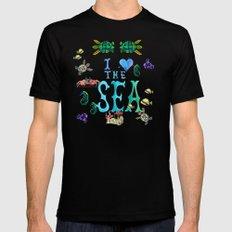 I Love the Sea MEDIUM Black Mens Fitted Tee