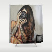 hello beautiful Shower Curtains featuring Hello Beautiful by Kim Maria Morrow