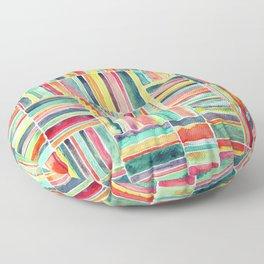 Retro Beach Chair Bright Watercolor Stripes on White Floor Pillow