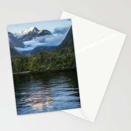 Sunset in beautiful Harrison Cove at Milford Sound Stationery Cards